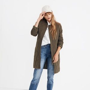 NWT madewell green quilted military coat